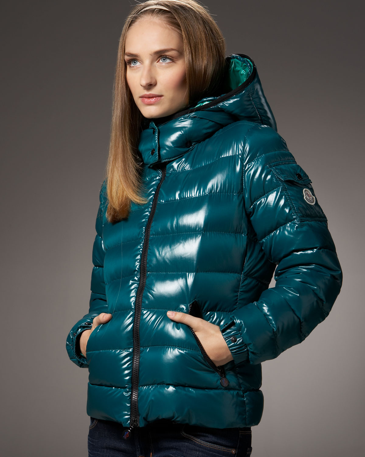 Moncler hooded down jacket – teal | SHINY NYLON