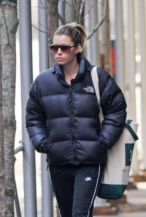 "464ae10d9 Jessica Biel in black The North Face ""Nuptse"" down jacket 