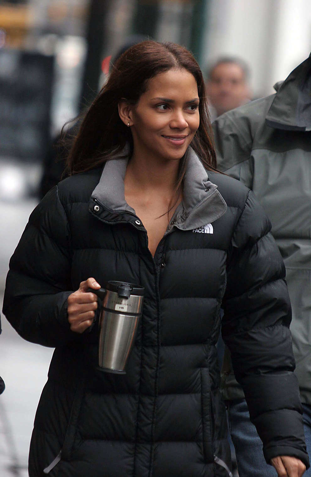 halle berry in black the north face triple c down coat. Black Bedroom Furniture Sets. Home Design Ideas