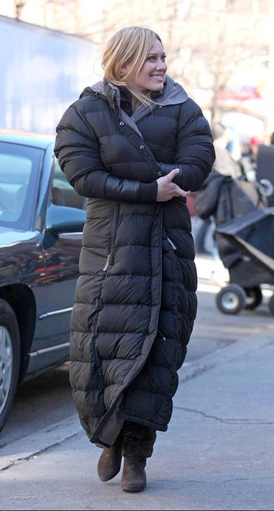 "c216f0707 Hillary Duff in black The North Face ""Triple C"" down coat   SHINY NYLON"