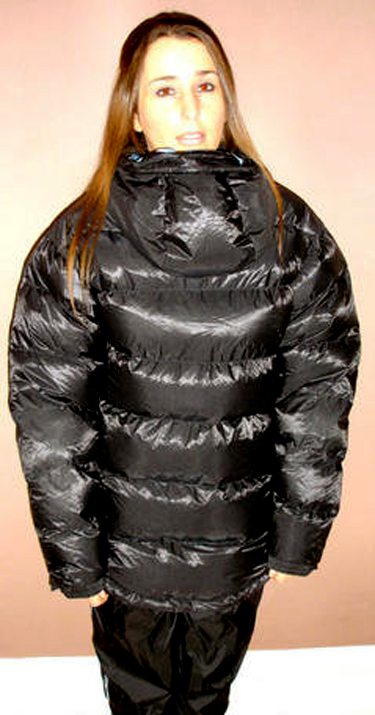 Girl with reversed hood down jacket – black | SHINY NYLON