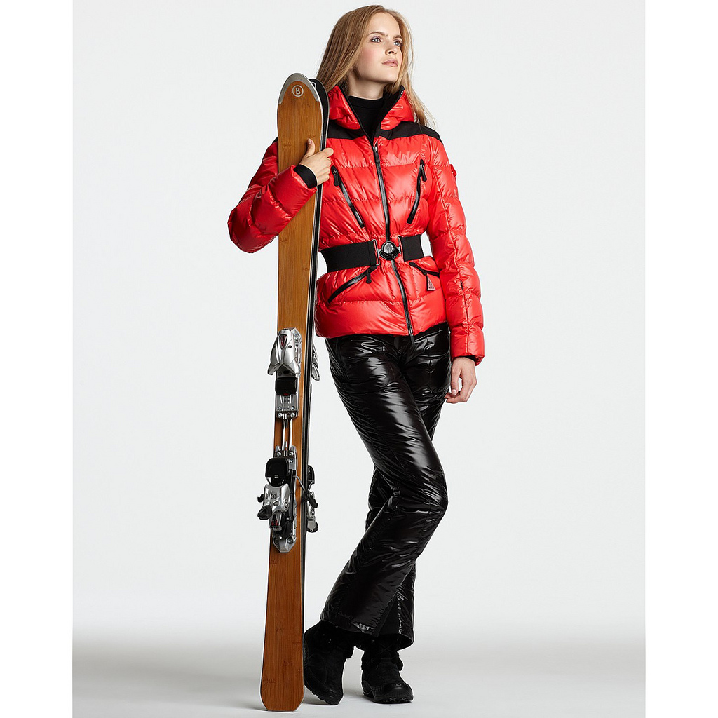 Black and red Moncler ski suit with hooded down jacket