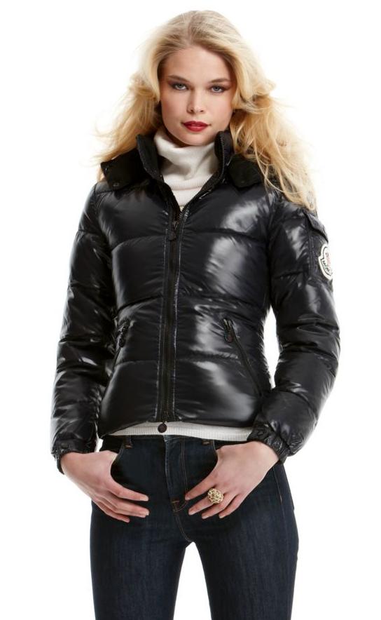 "d9b016954 Black hooded Moncler ""Badia"" down jacket | SHINY NYLON"