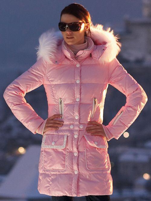 "Pink fur-hooded Bogner ""Melana"" down coat | SHINY NYLON"