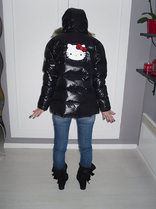 27e473e21 Black Hello Kitty down jacket | SHINY NYLON