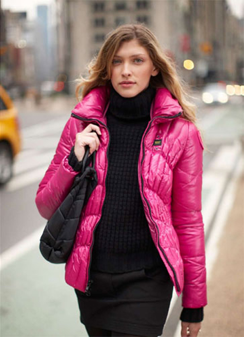 Pink Blauer down jacket | SHINY NYLON