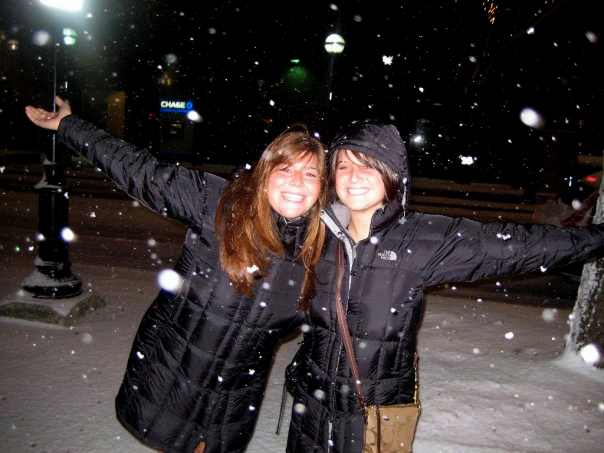 """Two girls in black The North Face """"Metropolis"""" down coats  ef53450badc4"""