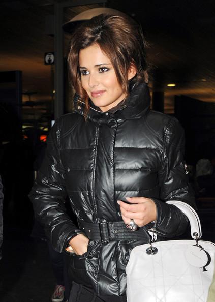 Cheryl Cole In Black Down Jacket SHINY NYLON