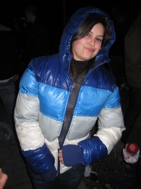 5f5a478da Girls in blue and white down jackets   SHINY NYLON