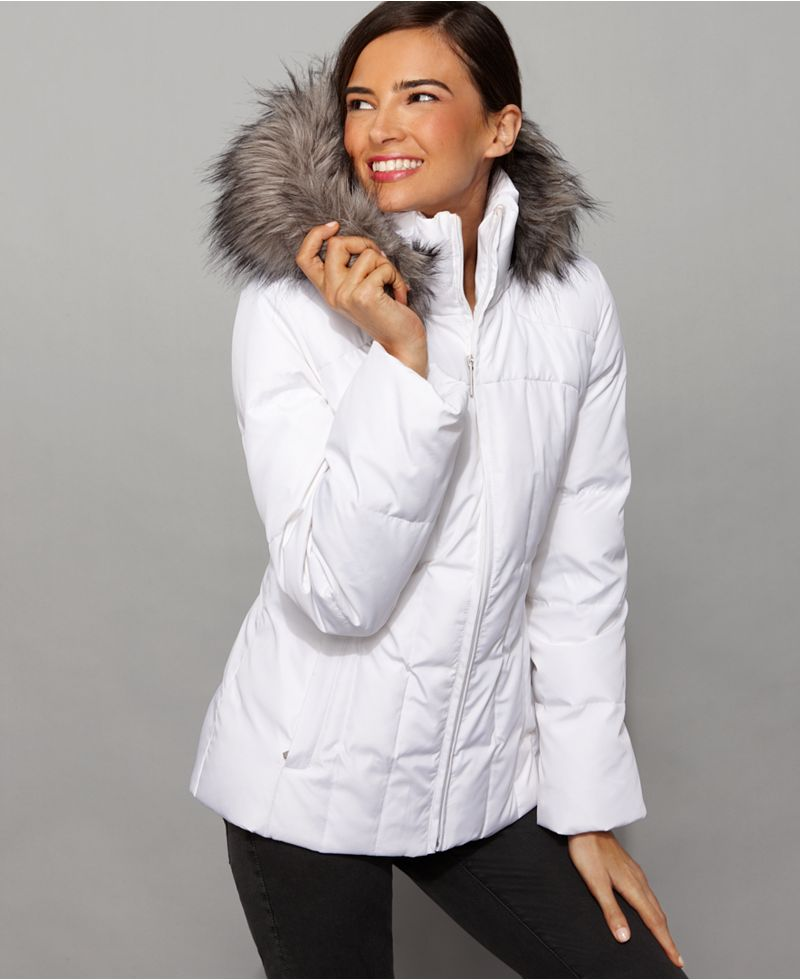 White fur-hooded Calvin Klein down jacket | SHINY NYLON