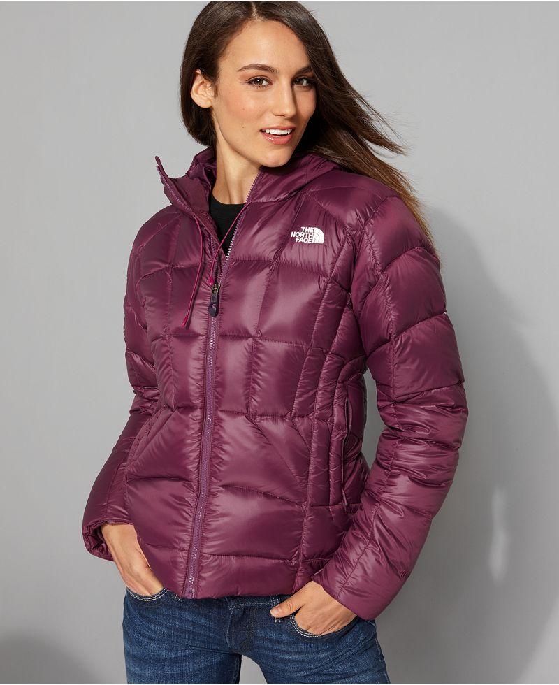 "Burgundy the north face ""destiny down jacket shiny nylon"