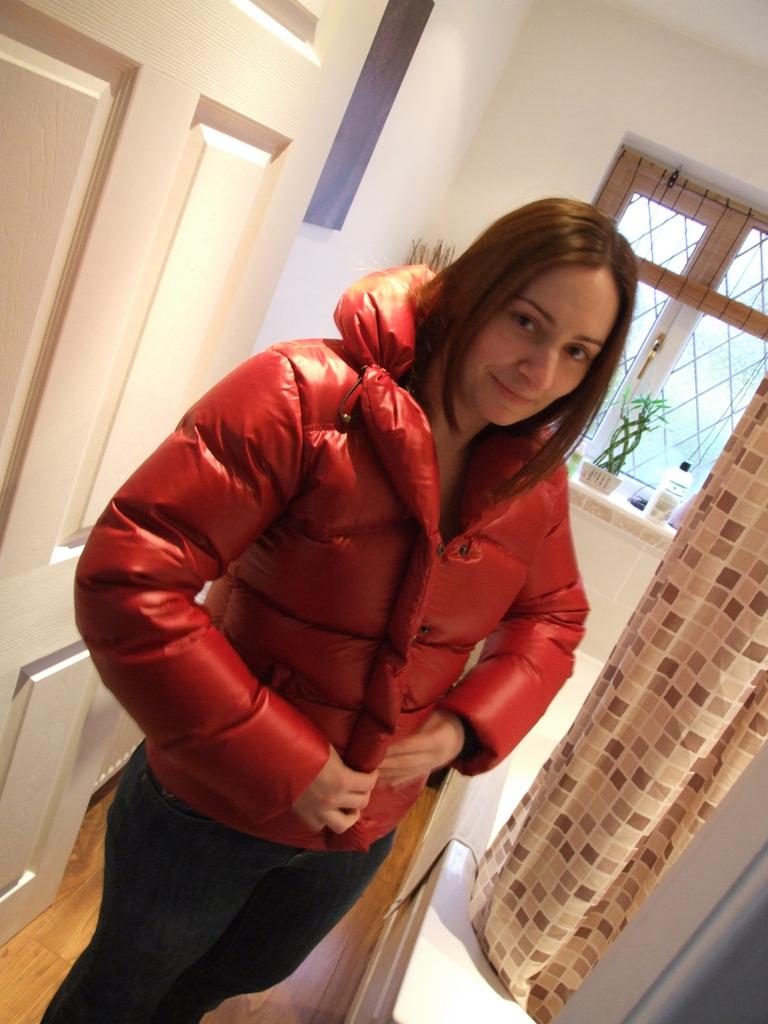 Red Down Jacket Shiny Nylon