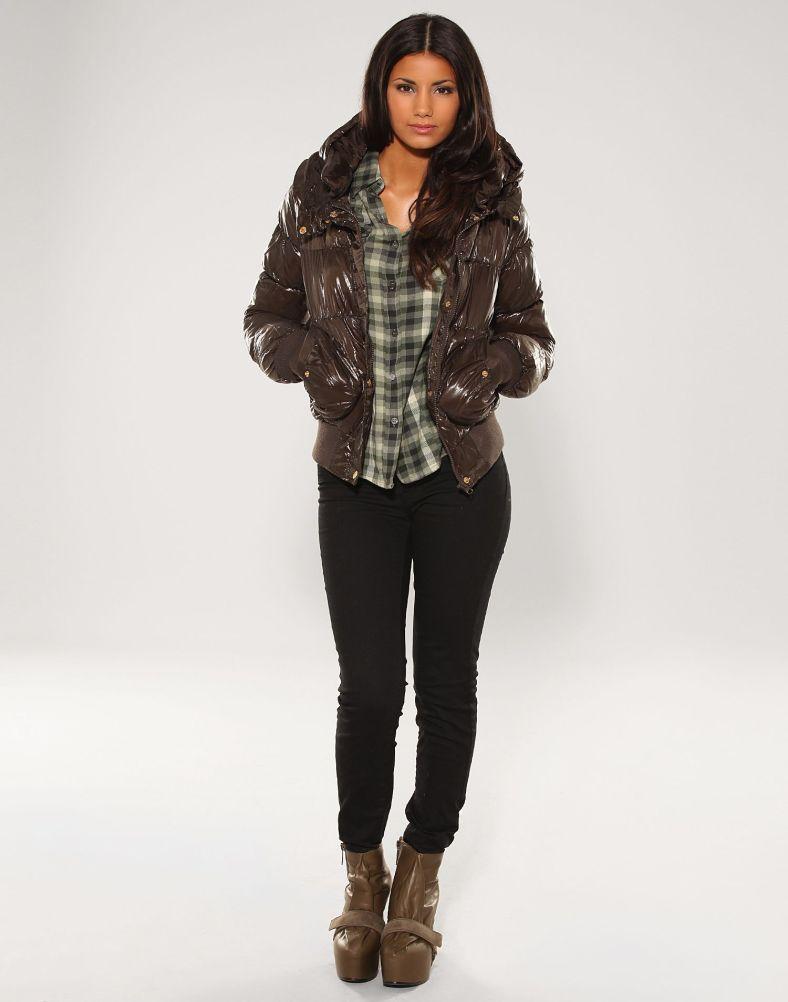 brown hooded vero moda down jacket shiny nylon. Black Bedroom Furniture Sets. Home Design Ideas