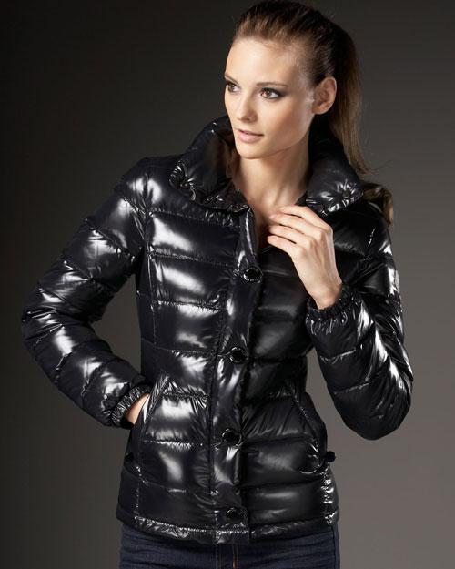 shiny black European coat