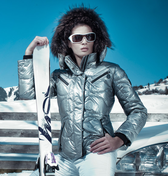 silver sportalm pixie down jacket shiny nylon. Black Bedroom Furniture Sets. Home Design Ideas