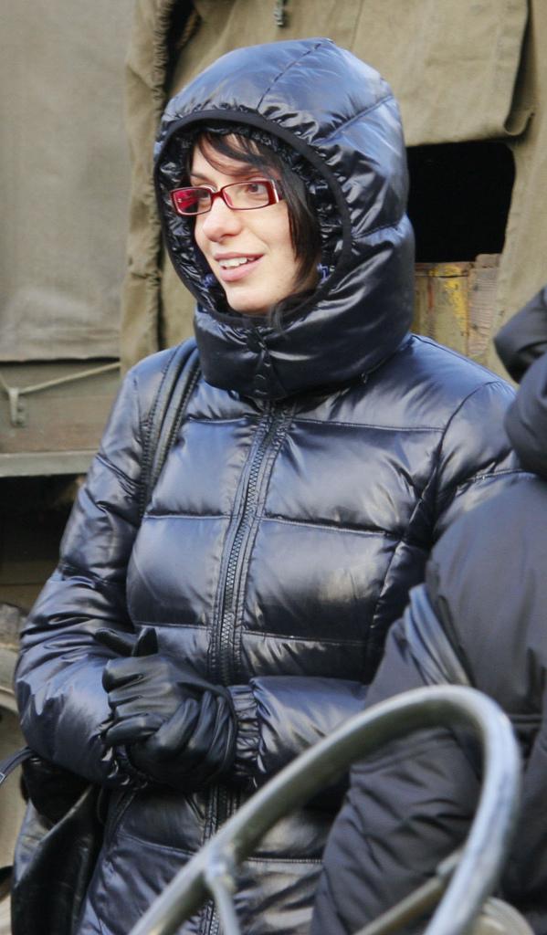 Black hooded down coat | SHINY NYLON