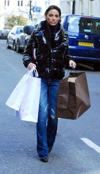 Katie Price in black down jacket | SHINY NYLON