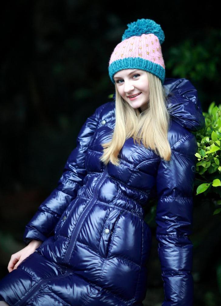 Blue Down Coat Shiny Nylon