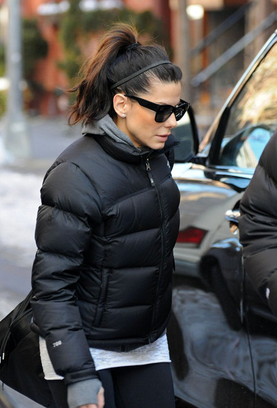 Sandra Bullock In Black The North Face Nuptse Down