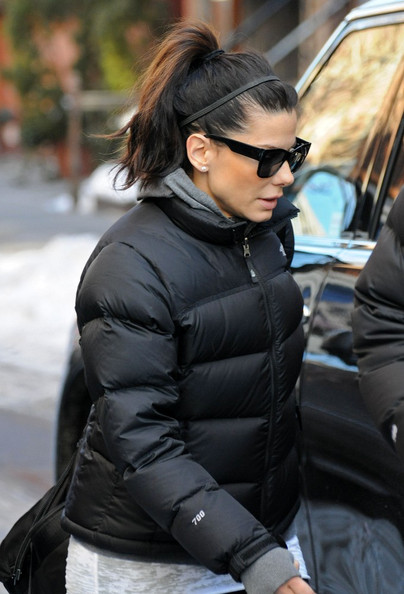"Sandra Bullock in black The North Face ""Nuptse"" down jacket  e846644ed9"