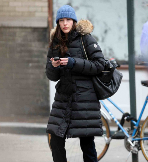 Liv Tyler In Black Fur Hooded Moncler Down Coat Shiny Nylon
