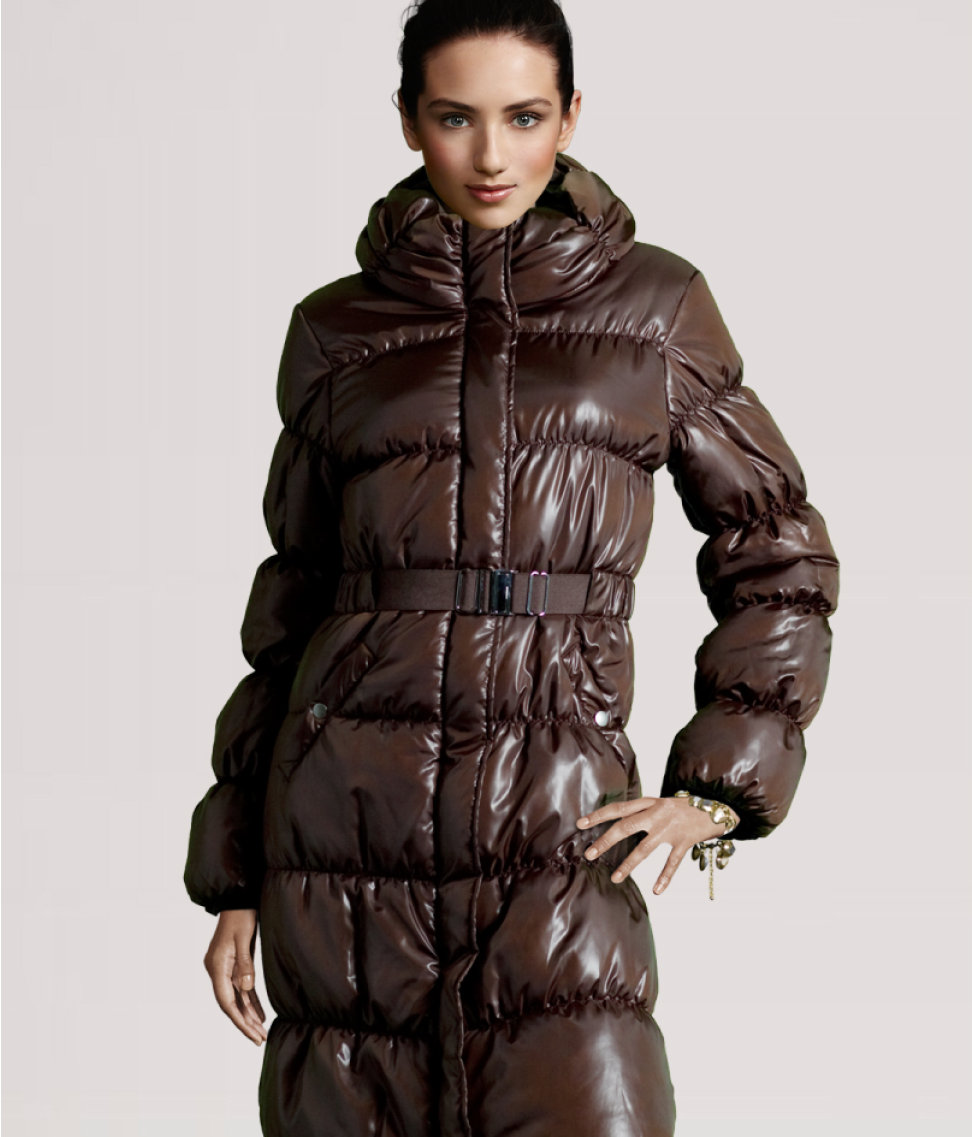 Brown H&M down coat | SHINY NYLON