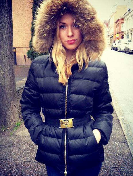 Black Fur Hooded Moncler Down Jacket Shiny Nylon