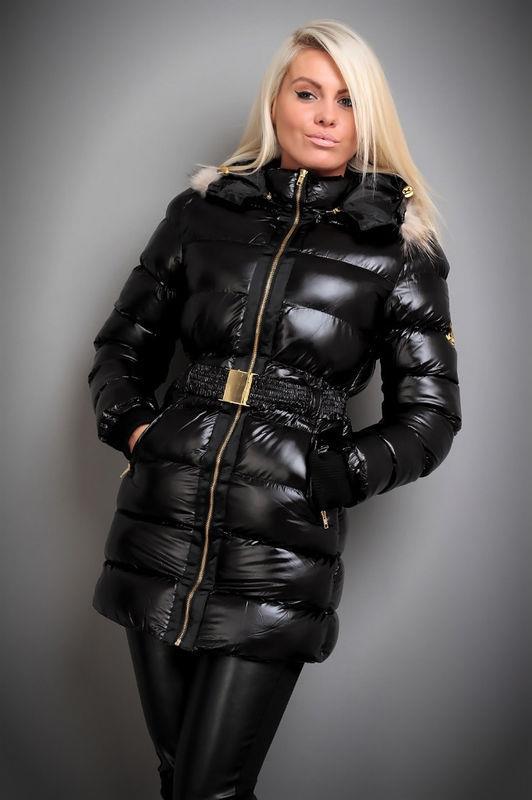 Black Jolina Down Coat Shiny Nylon