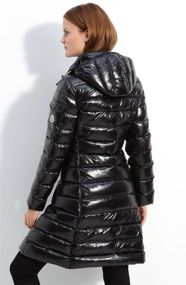 Black Moncler Moca Down Coat Shiny Nylon