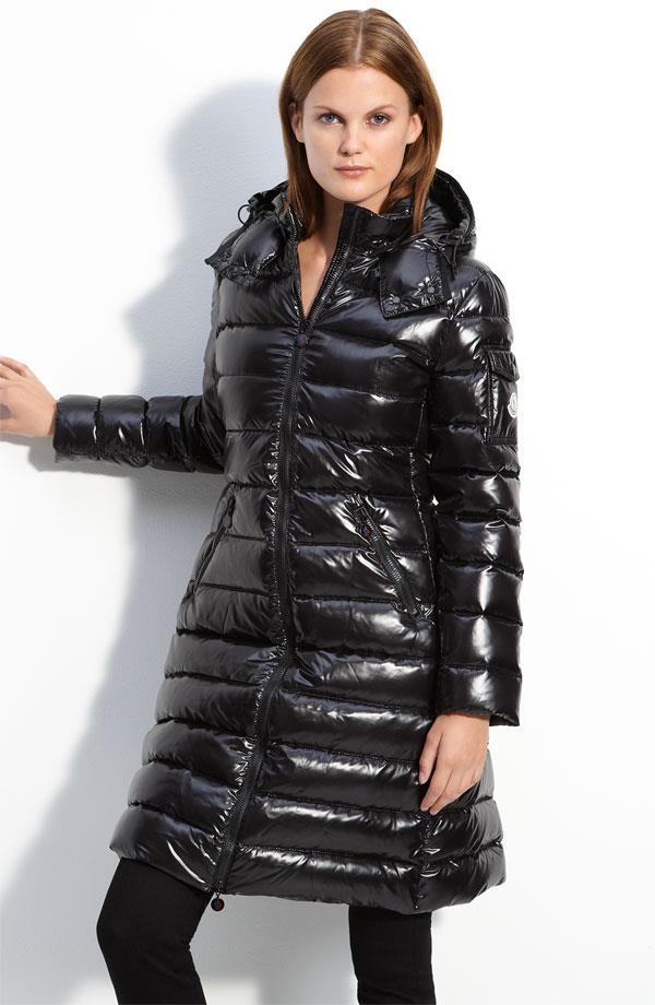 Black Moncler Moca Down Coat Shiny Nylon