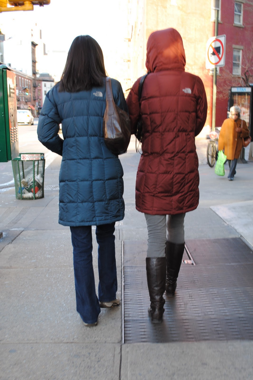 Blue and red hooded The North Face  Metropolis  down coat  1642d9832