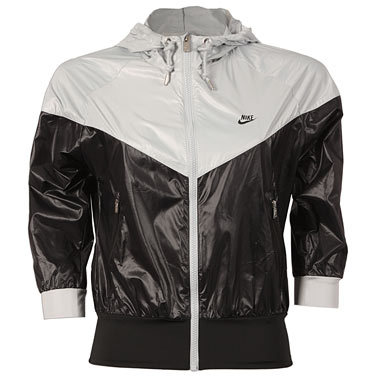 White   Black Nike  Windrunner  rain jacket  9b18cb64c
