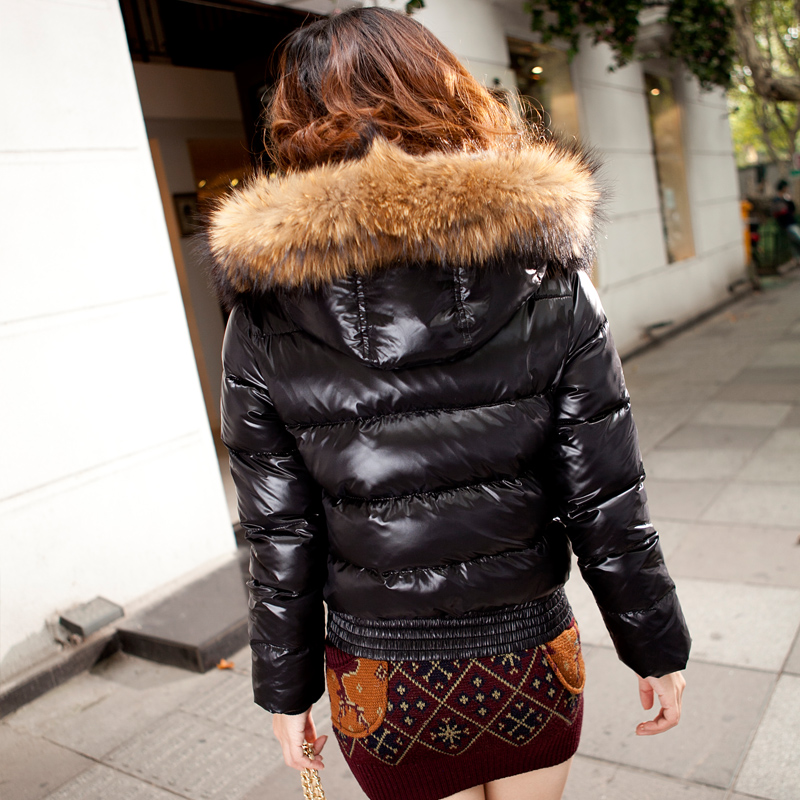 Shiny black fur coat