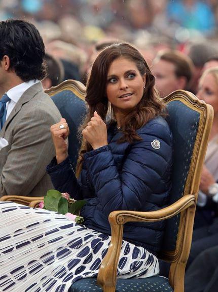 Princess Madeleine In Blue Moncler Down Jacket Shiny Nylon