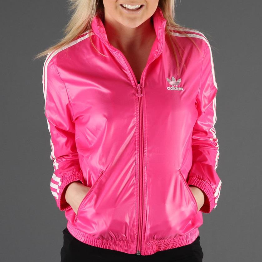 Pink Adidas Rain Jacket Shiny Nylon