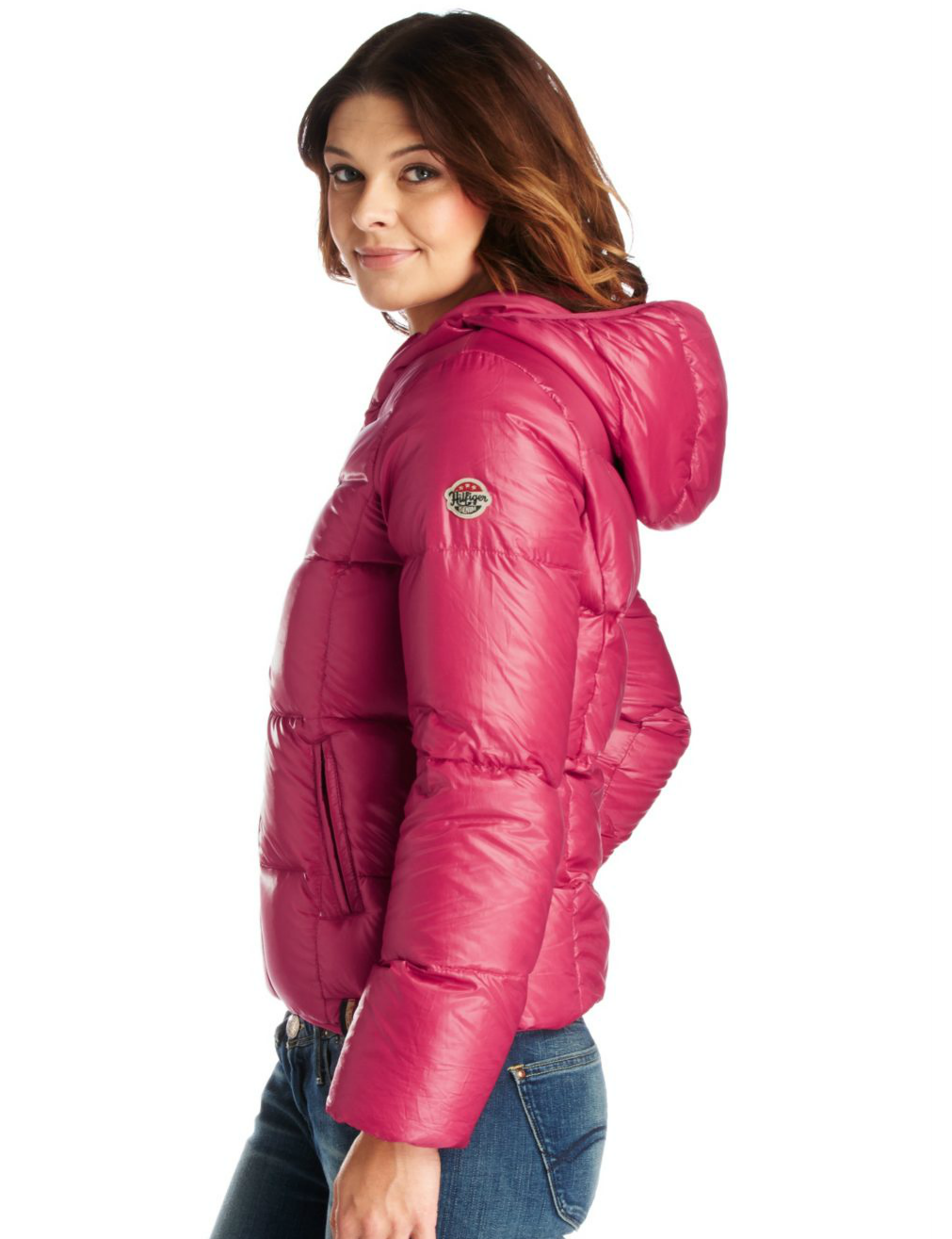 pink hooded tommy hilfiger down jacket shiny nylon. Black Bedroom Furniture Sets. Home Design Ideas