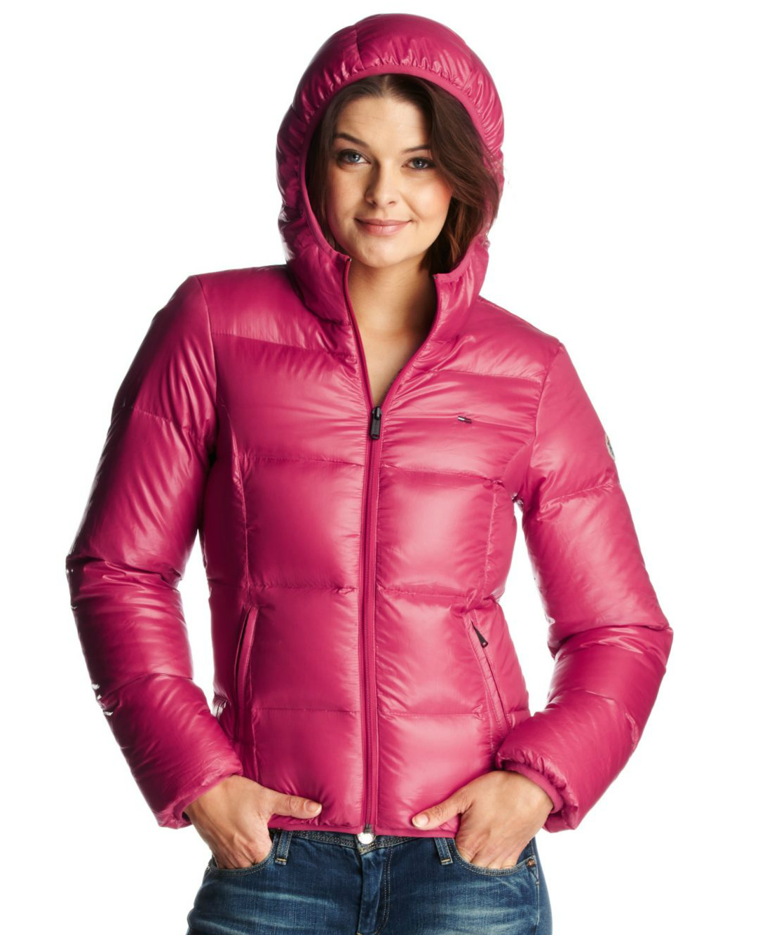 Pink hooded Tommy Hilfiger down jacket | SHINY NYLON