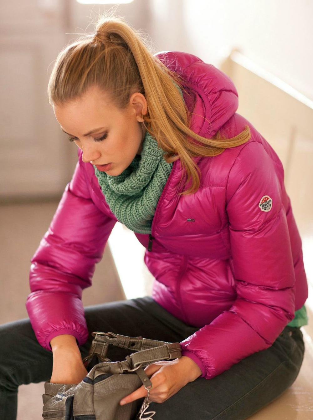 4e1f4a9a3 Pink hooded Tommy Hilfiger down jacket | SHINY NYLON
