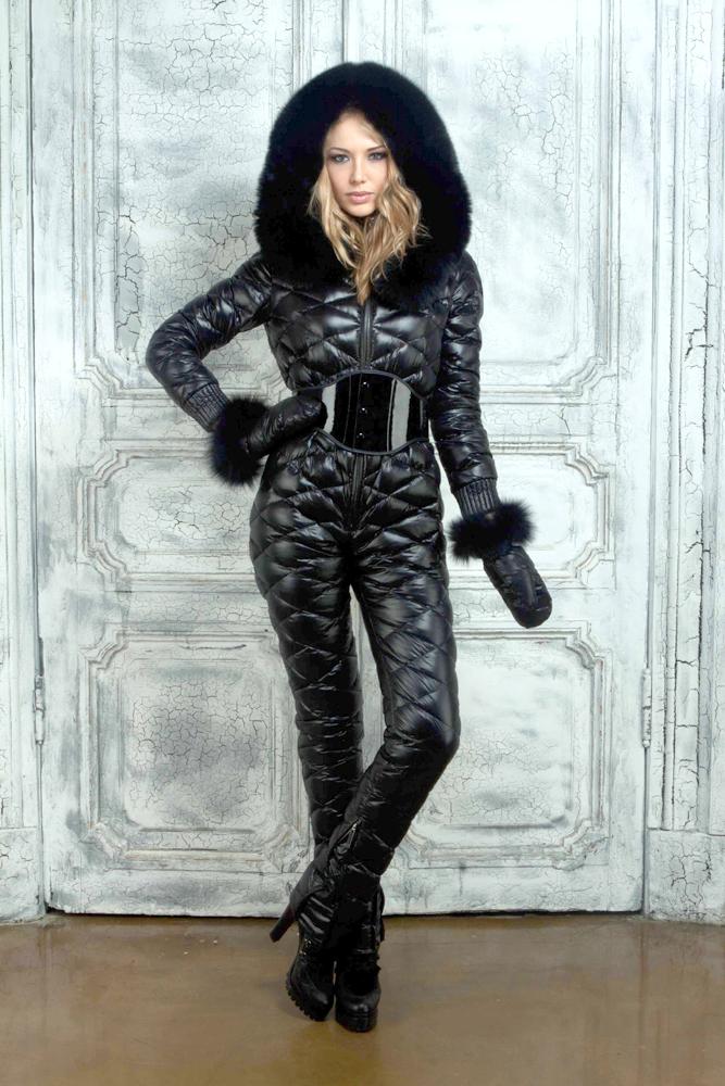 Black Down Suit Shiny Nylon