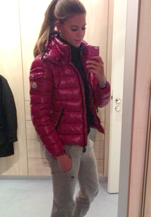 Pink Moncler Bady Down Jacket Shiny Nylon