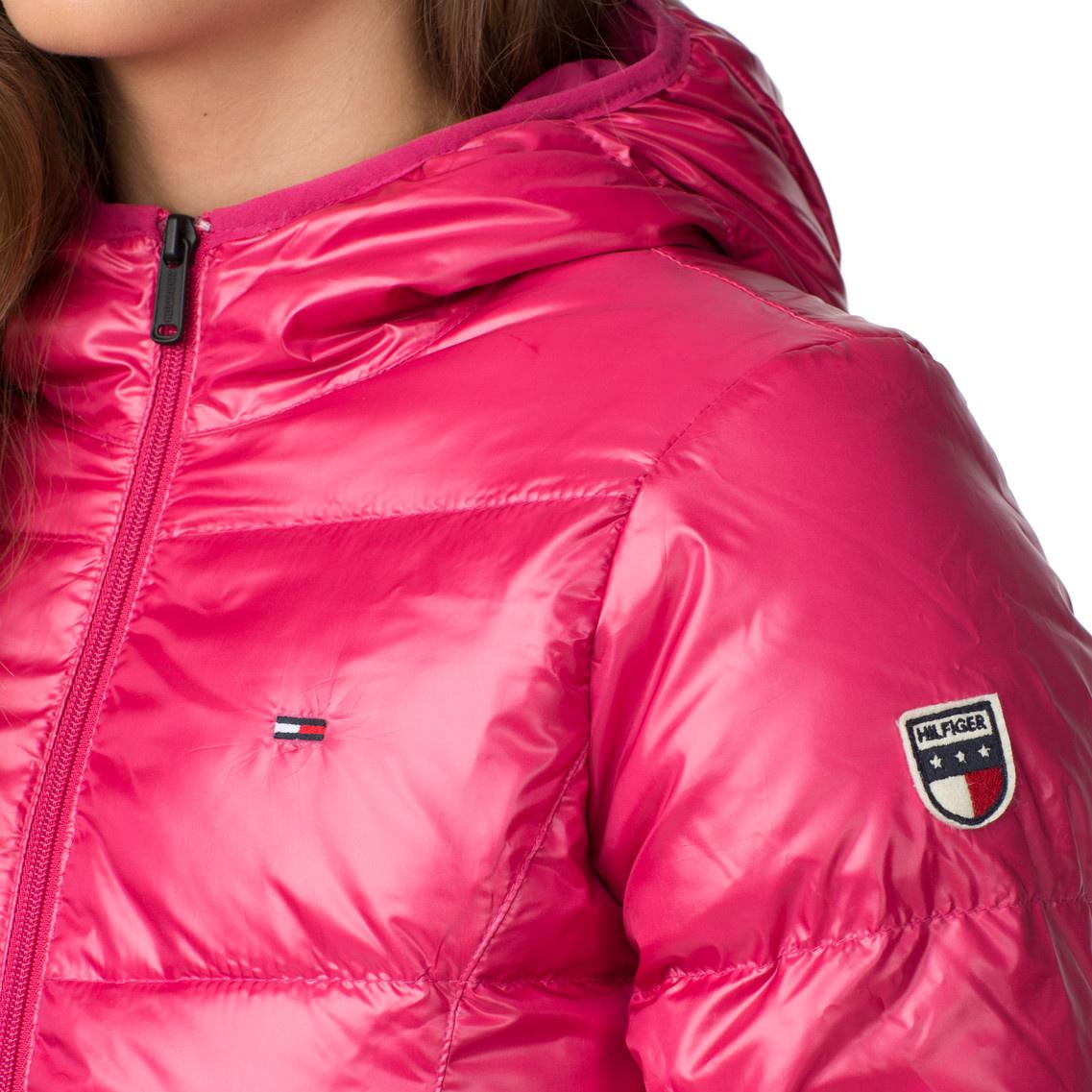 pink hooded tommy hilfiger down jacket shiny nylon. Black Bedroom Furniture Sets. Home Design Ideas