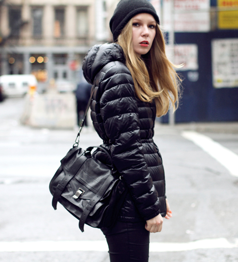 Black Uniqlo Down Jacket Shiny Nylon