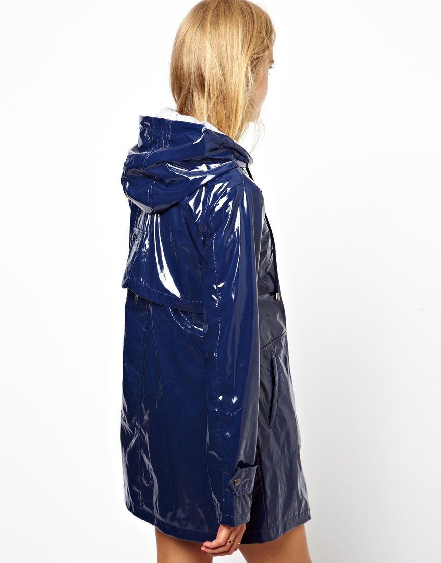 Blue ASOS rain coat | SHINY NYLON