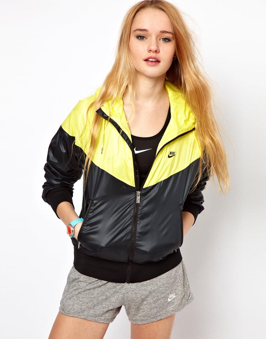 yellow and black nike windrunner rain jacket shiny nylon. Black Bedroom Furniture Sets. Home Design Ideas