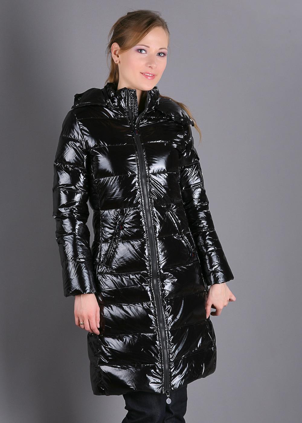 Black Moncler Down Coat Shiny Nylon