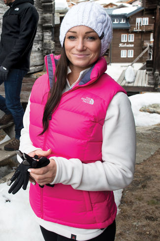 pink northface vest