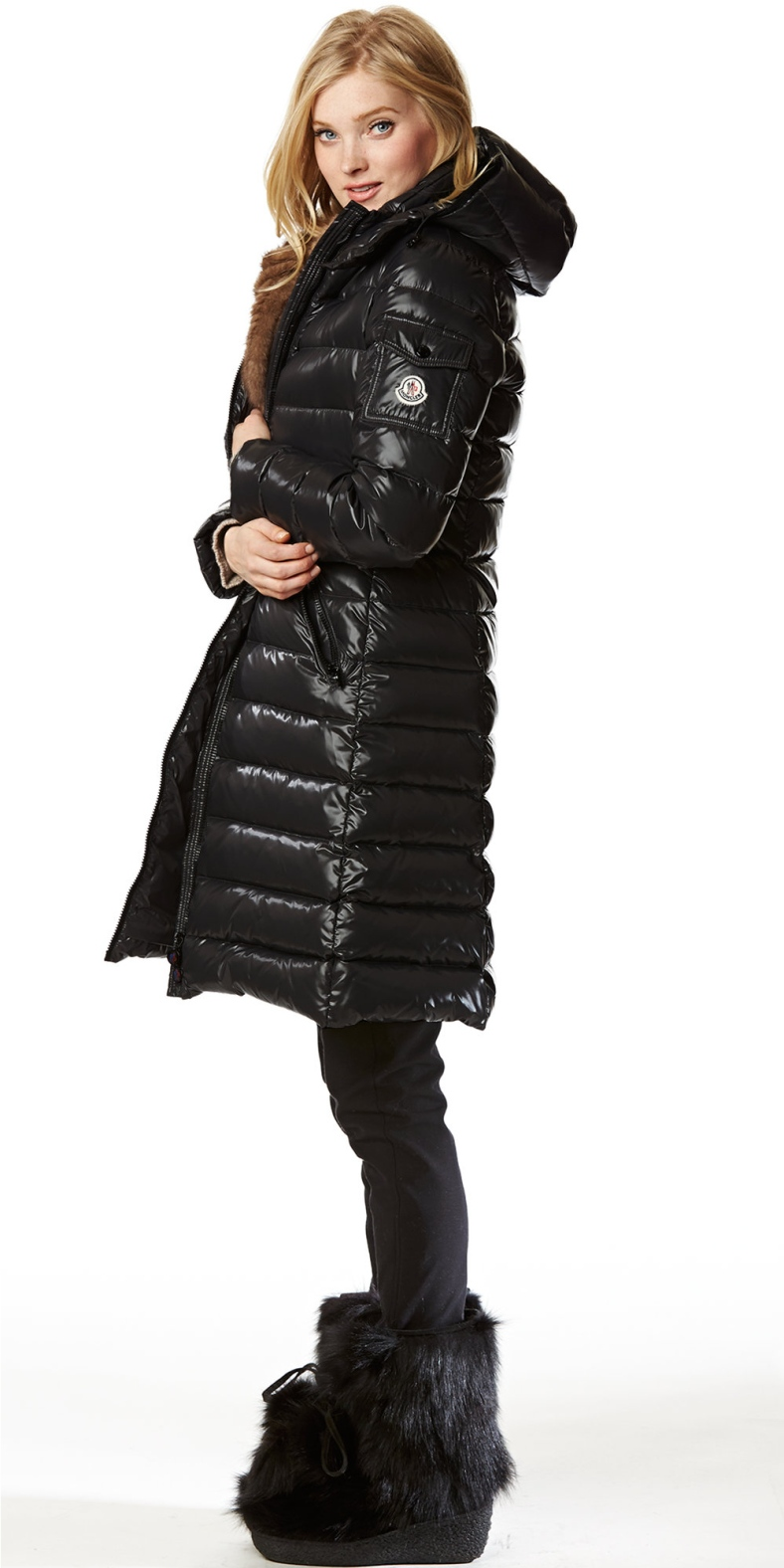 Black Moncler Moka Down Coat Shiny Nylon